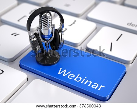 Webinar, Online Education and Training concept - Blue Webinar button with microphone and headphones - stock photo