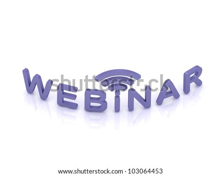 webinar sign with the antenna with blue letters on white background - stock photo