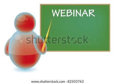 Webinar teacher using a blackboard - stock photo