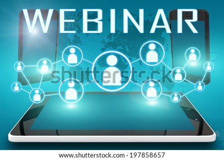 Webinar - text illustration with social icons and tablet computer and mobile cellphones on cyan digital world map background - stock photo