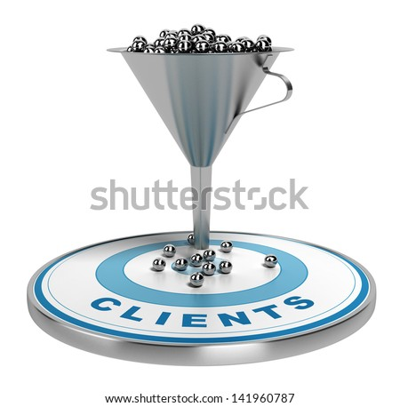 webmarketing sales funnel with metal spheres inside plus a blue target with some balls on it, illustration isolated over white. - stock photo