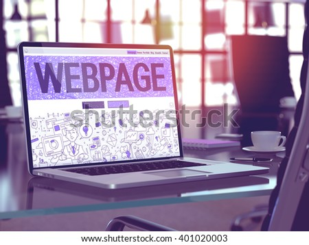 Webpage - Closeup Landing Page in Doodle Design Style on Laptop Screen. On Background of Comfortable Working Place in Modern Office. Toned, Blurred Image. 3D Render. - stock photo