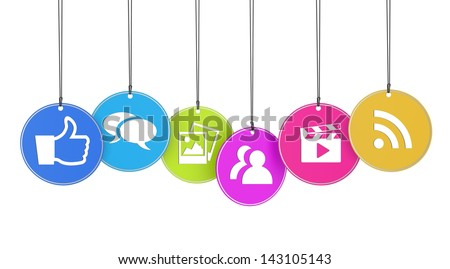 Website and Internet concept with social media icons on colorful hanged tags isolated on white background. - stock photo