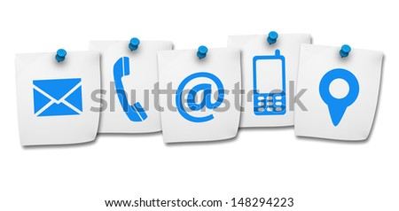 Website and Internet contact us page concept with contact icons and symbols on five paper post it isolated on white background. - stock photo