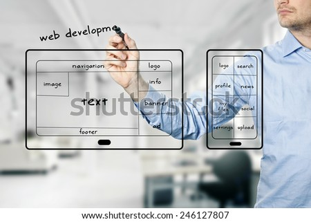 website and mobile app development - stock photo
