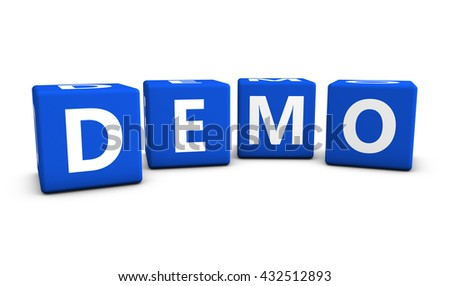 Website business, Internet and web concept with demo word and sign on blue cubes 3D illustration isolated on white background. - stock photo