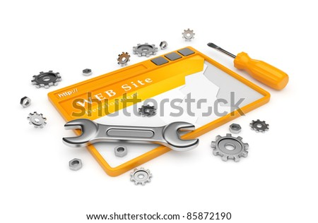 Website development. WWW with tools isolated on white - stock photo