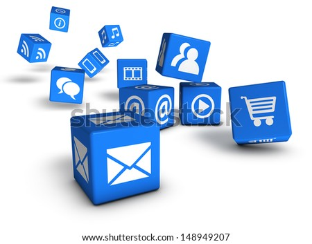 Website, social media and Internet concept with web icons on blue cubes isolated on white background. - stock photo