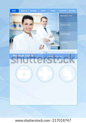 website template medical, health care theme - blue design with layout for a doctor, clinic, hospital, health care or pharmacy company - stock photo
