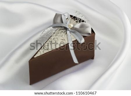 wedding accessories in white satin - stock photo