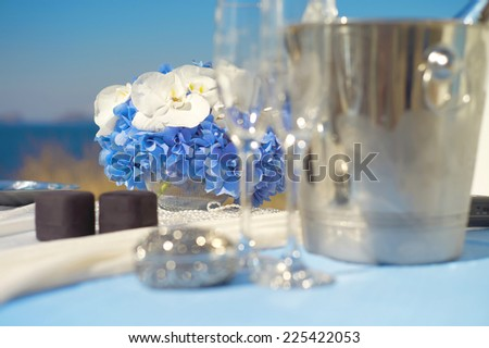 Wedding accessories of white and blue colors - stock photo