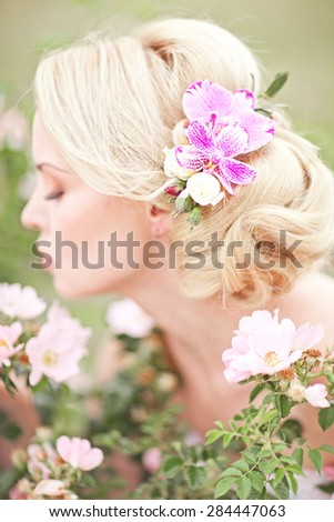 Wedding accessory. Flowers hair pin.  - stock photo