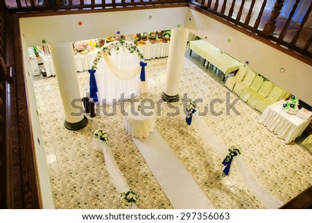 wedding arch at the restaurant - stock photo