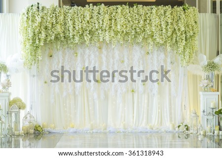 Wedding backdrop with flower decoration - stock photo