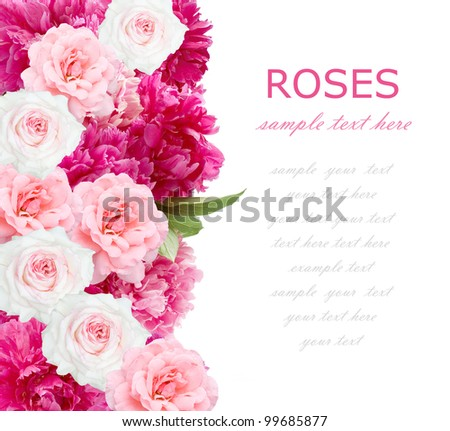Wedding background of peonies and roses bunch isolated on white with sample text - stock photo