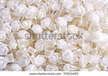 Wedding background of white flowers. small satin roses - stock photo