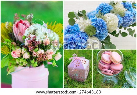 Wedding background set - flowers and sweets collage - stock photo