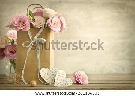 Wedding background with pink roses, bow and paper Hearts, vintage style - stock photo