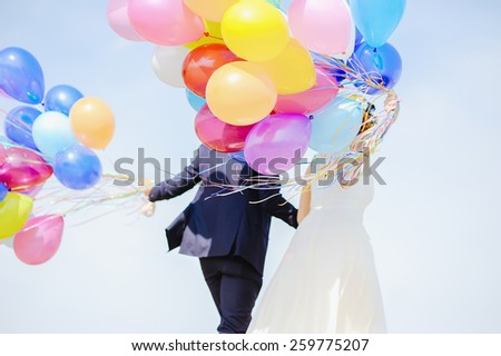 wedding balloons - stock photo