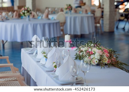 Wedding banquet, small restaurant in Maritime style - stock photo