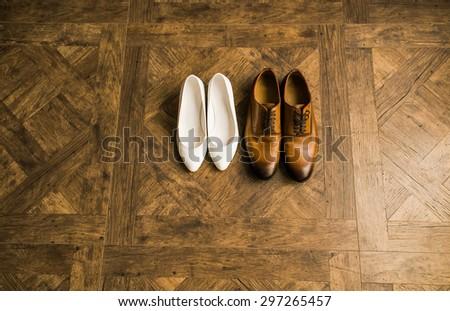 wedding beautifull shoes, man's shoes, woman's shoes - stock photo