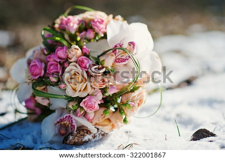 wedding bouquet at the winter day - stock photo