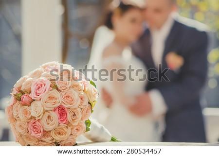 Wedding bouquet. Bride and groom. - stock photo