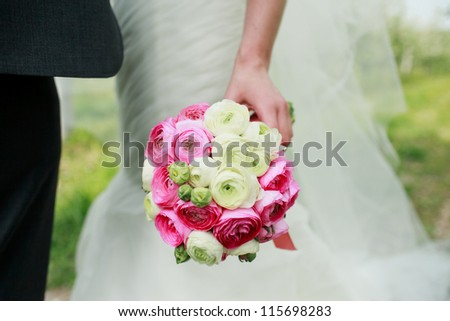 wedding bouquet flowers with colored flowers - stock photo