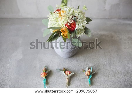 Wedding bouquet in a rustic style with boutonniere - stock photo