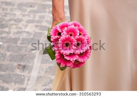 Wedding bouquet is a little bouquet of flowers - stock photo