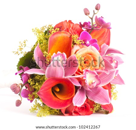 Wedding Bouquet isolated on white - stock photo
