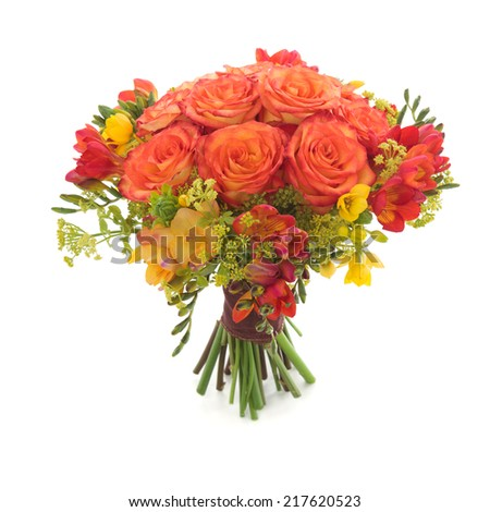 Wedding bouquet made of orange Roses and Freesia flowers. - stock photo