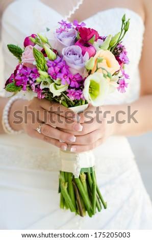 Wedding Bouquet of beautiful flowers - stock photo