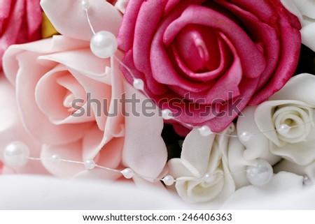 Wedding bouquet of pink roses - closeup photo - stock photo