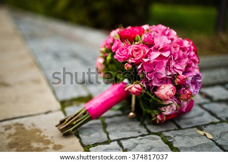 Wedding bouquet of rose and peony david austin - stock photo