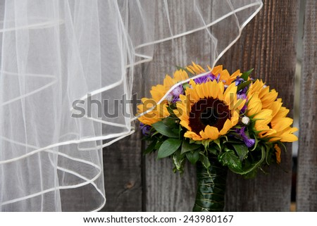 Wedding bouquet of sunflower - stock photo