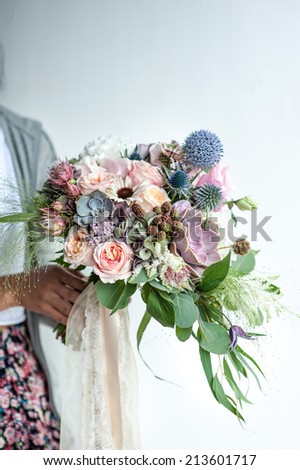 wedding bouquet of the bride - colorful wedding flowers. - stock photo