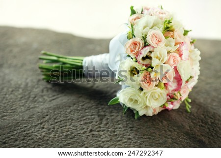Wedding bouquet outdoors - stock photo