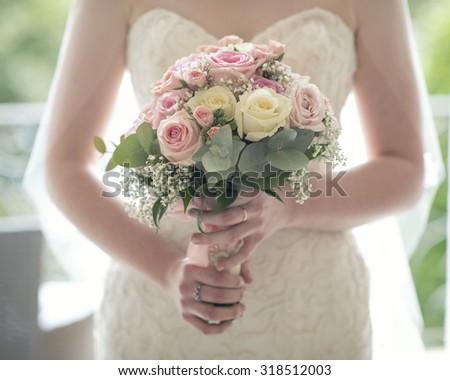 wedding bouquet roses - stock photo