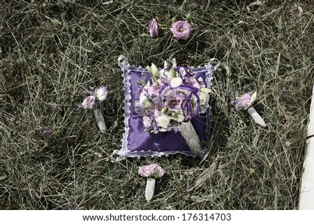 wedding bouquet , Wedding bouquet of pink and white roses lying on grass - stock photo