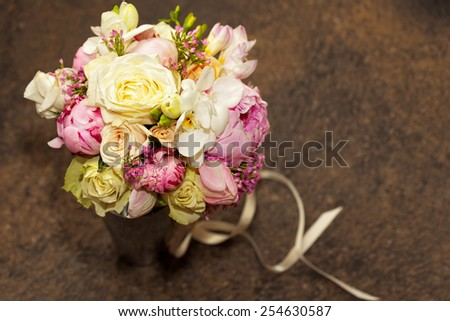 wedding bouquet with Orchids - stock photo