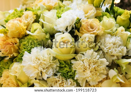 Wedding bouquet with rose and carnation background - stock photo