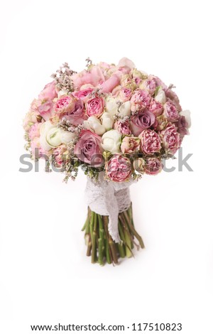wedding bouquet with rose bush, Ranunculus asiaticus - stock photo