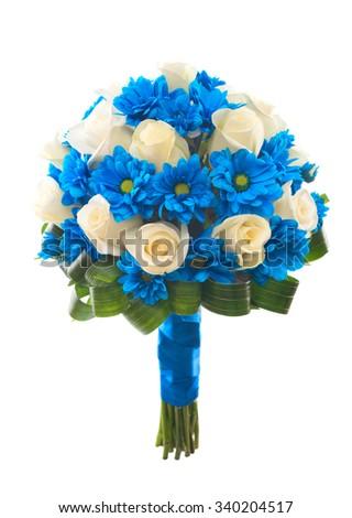 Wedding bridal bouquet. Cream roses and blue chrysanthemum. Isolated. - stock photo