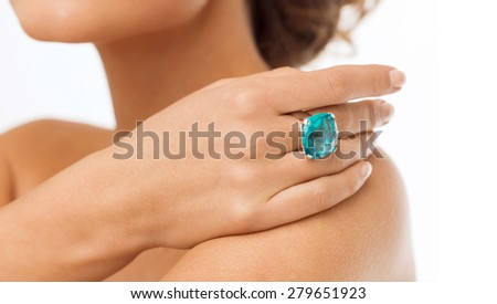 wedding, bridal, jewellery and luxury concept - picture of beautiful woman with cocktail ring - stock photo