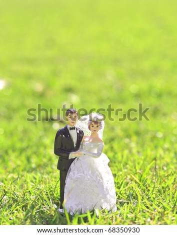 wedding bride and groom couple doll on grass ground field - stock photo