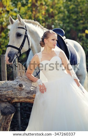 Wedding. Bride and white horse - stock photo