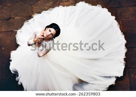 wedding bride portrait top down magnificent dress - stock photo