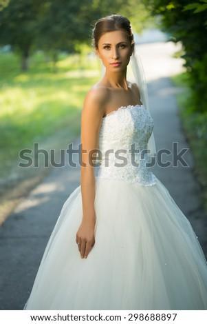 wedding bride smiling.  - stock photo