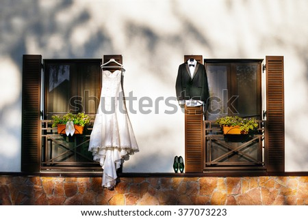 Wedding brides drees and grooms suit - stock photo